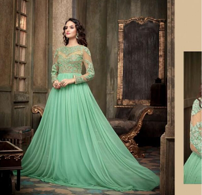 New Fashion Green Lace Long Sleeve Evening Dresses Plus ...