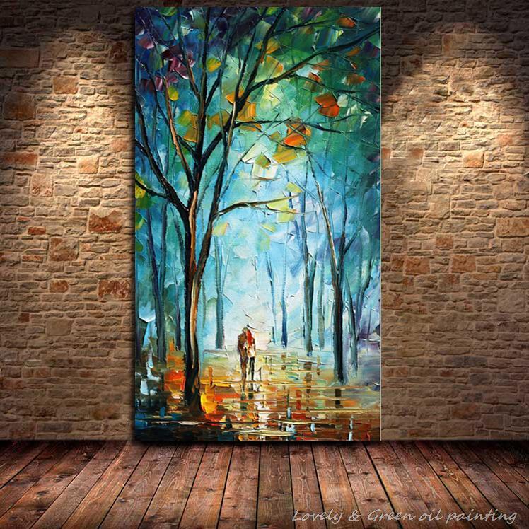 100 Handpainted Blue City Tree Street Modern Abstract Oil