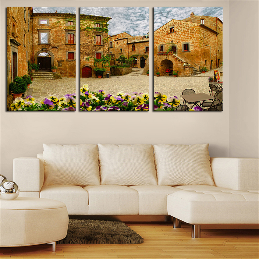 NO FRAME 3pcs banyoregio small <font><b>italian</b></font> town Printed Oil Painting On Canvas Oil Painting for <font><b>Home</b></font> <font><b>Decor</b></font> Wall <font><b>Decor</b></font>
