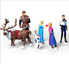 6pcs Lot Anna Elsa Hans Kristoff Sven Olaf Vinyl Doll Toys frozenly Doll Action Figures Birthday