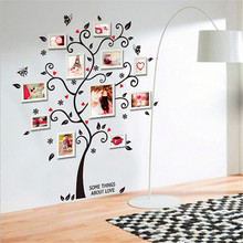 New Chic Black Family Photo Frame Tree Butterfly Flower Heart Wall Sticker Living room Decor Room Decals