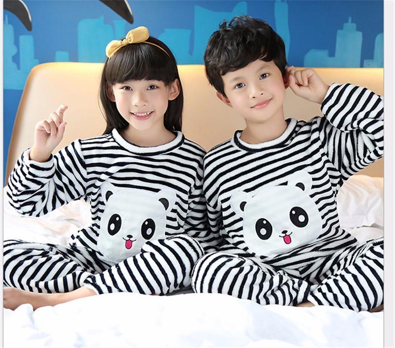 09a398616b7d Pyjamas Kids Boys Girls Winter Sleepwear Children Clothes Kids ...