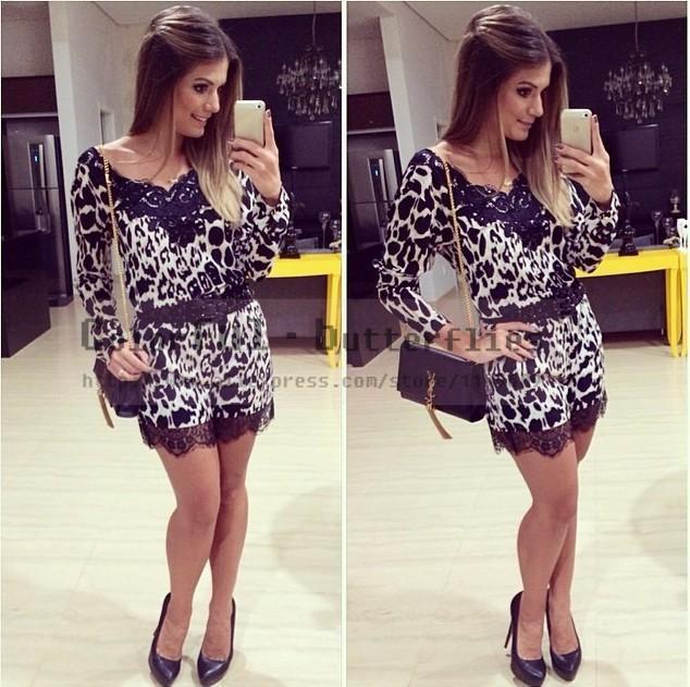 Новый женский лето комбинезон шею леопарда с длинными рукавами кружева шить женщины комбинезон macacao feminino