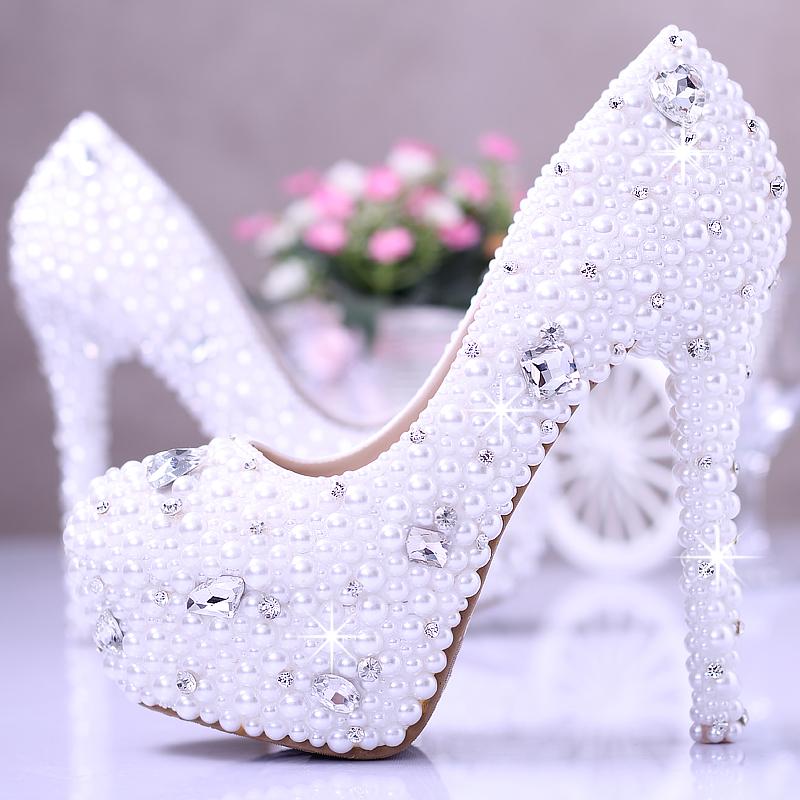 575f5c407e1 White wedding heels with rhinestones - photo 16