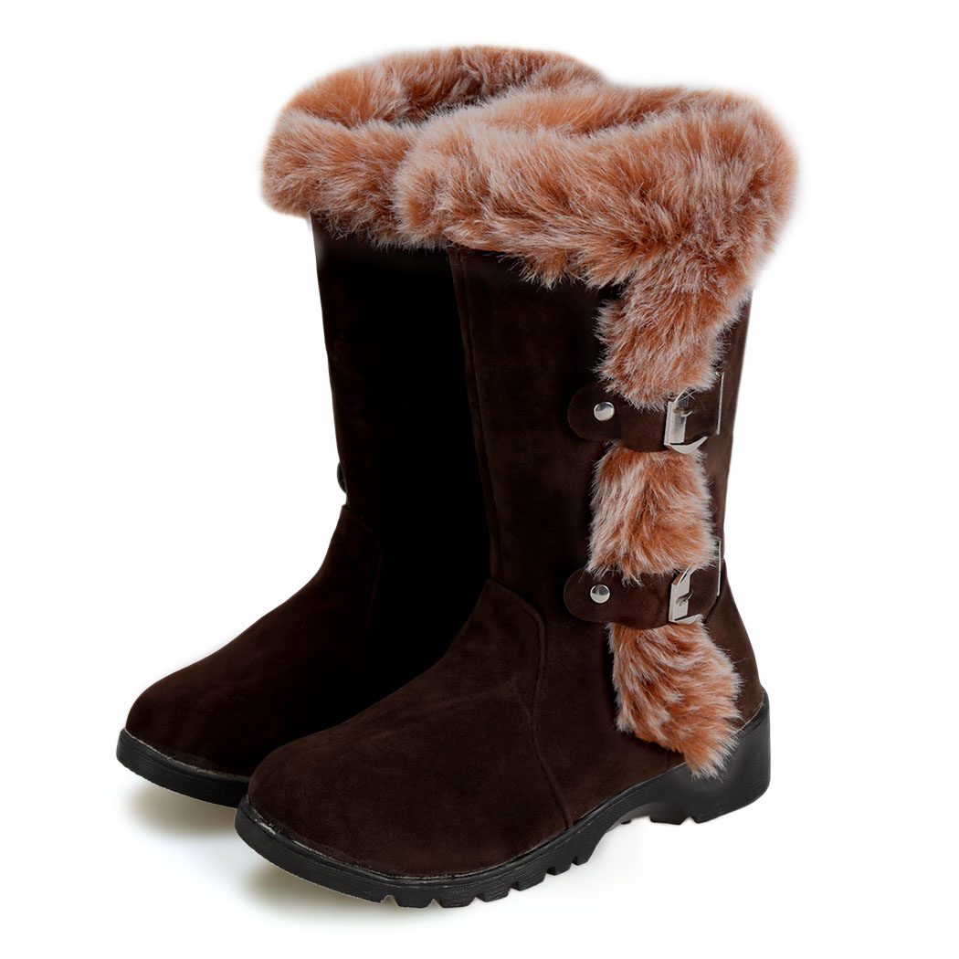 Plush Mid calf boots Fashion Flats Slip on Snow Boots 2015