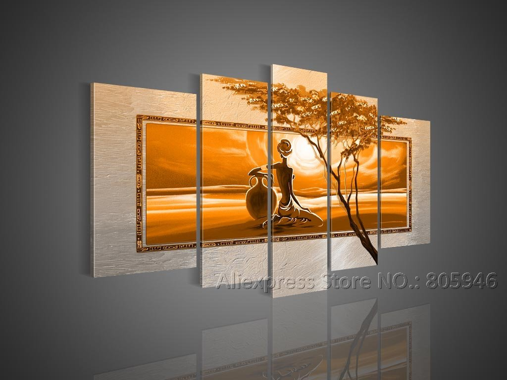 Framed Handpainted Modern Wall Decor 5 Pcs Framed