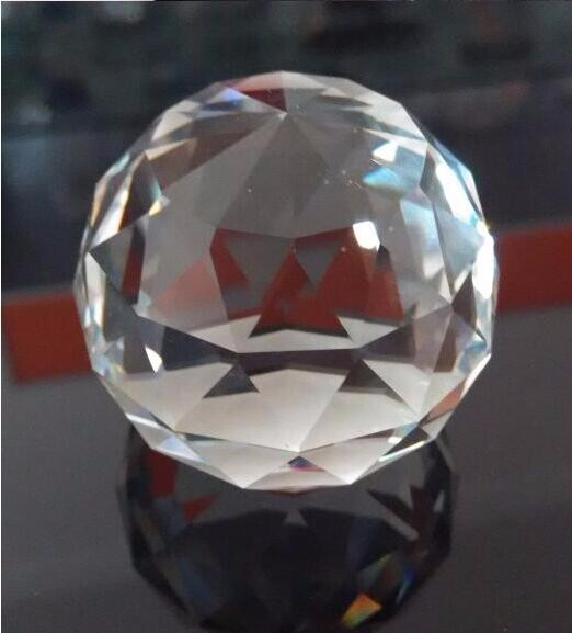 2pcs/lot 50mm Glass Crystal Faceted Ball Flat Back Paperweight Fengshui  Part For Sale