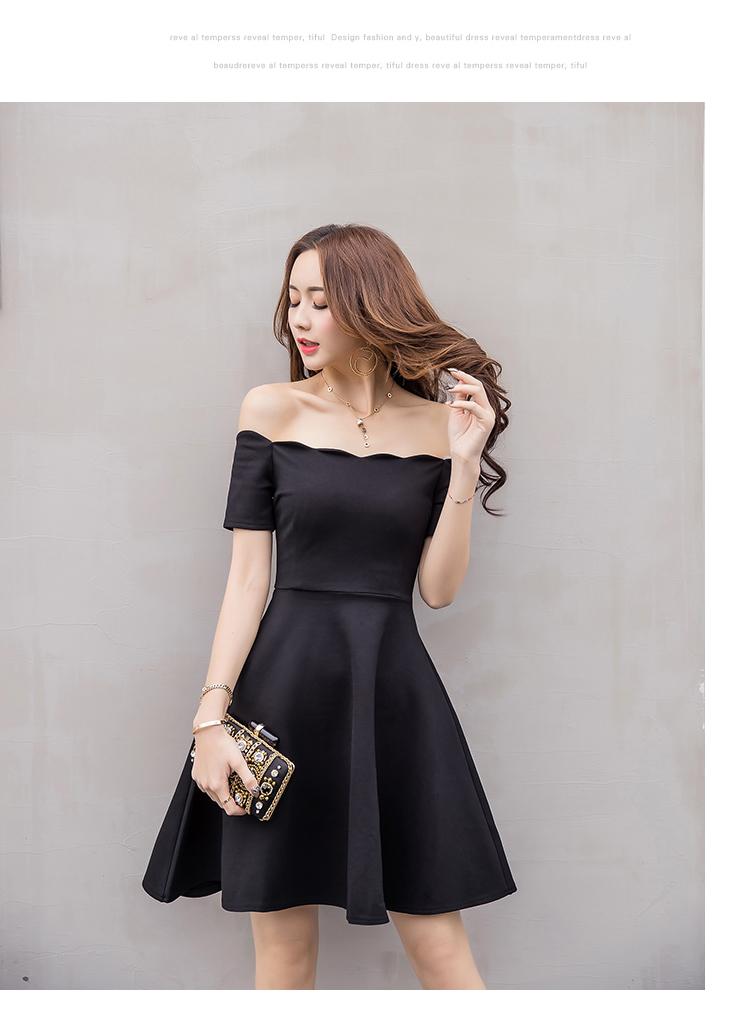 6760db961d Sexy Vestido de hombro 2018 elegantes vestidos de fiesta de las mujeres  cuello corto manga corta cintura alta slim plisado Vestido negro