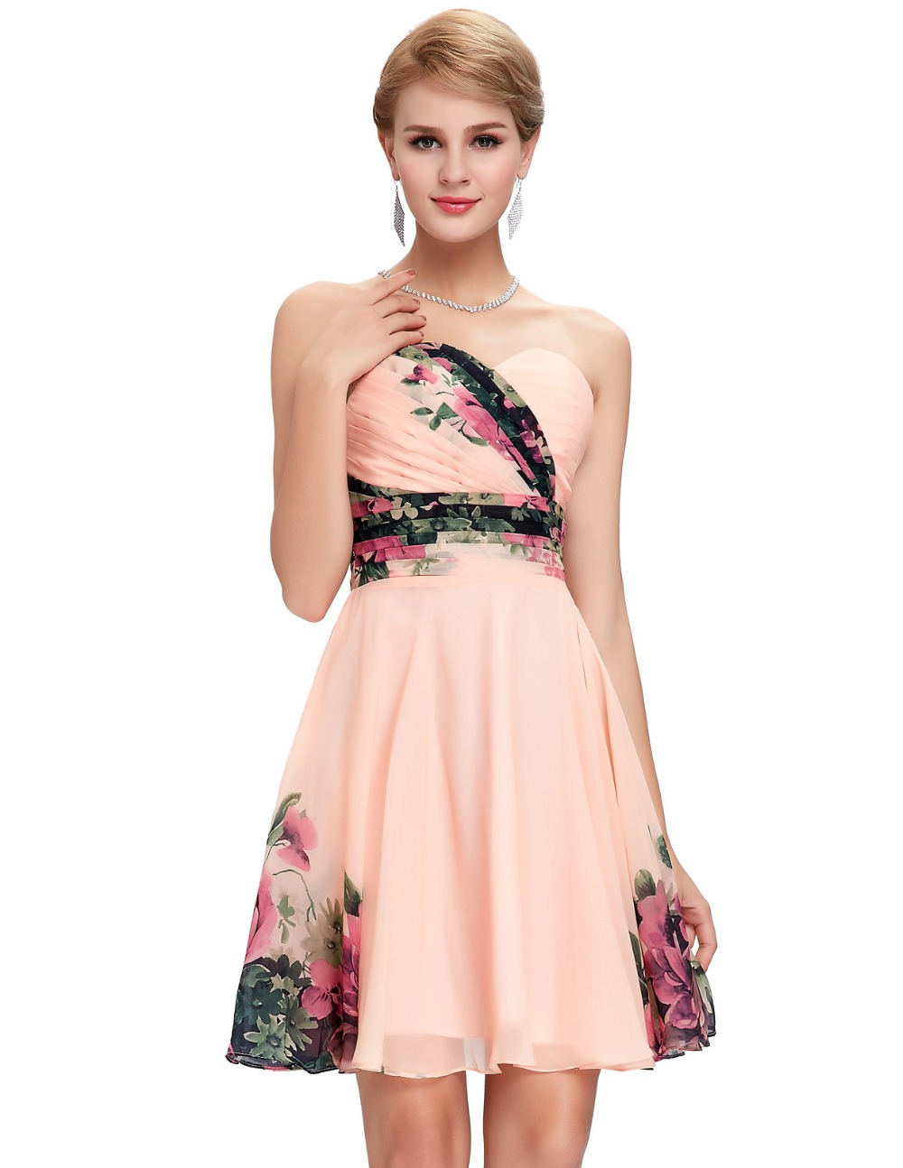 fc7eb2d3e64 Freeshipping 2015 New Sexy Women Floral Print dress Runway Vintage Party  Gown Short Pattern Evening Prom ...