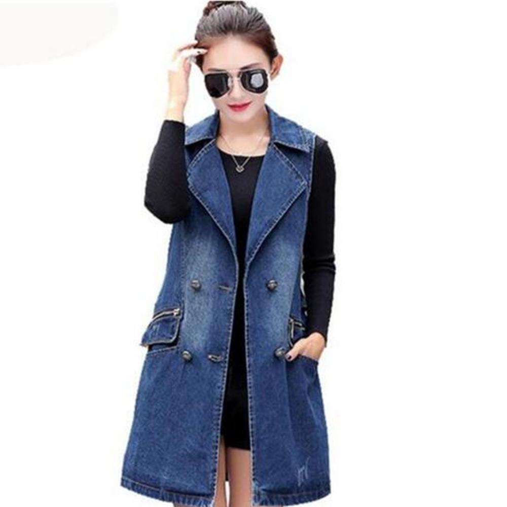 Women sleeveless denim jacket