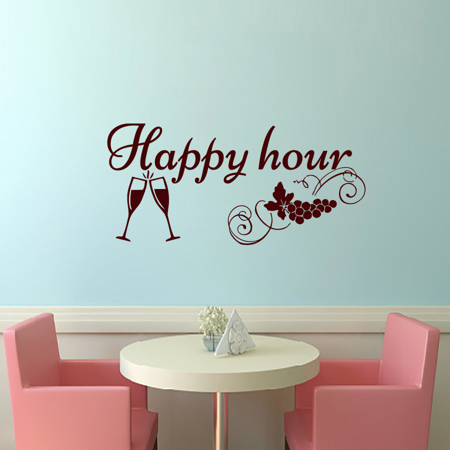 Happy Hour Grape Wine Glasses Wall Sticker PVC Removable Art Home Decor Restaurant Creative Wall Decals