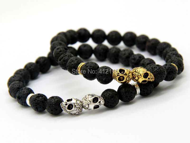 2018 2017 New Products Whole Christmas Gift 8mm Lava Stone Beads Gold Silver Skull Yoga Bracelets Party From Xiaolei1986 25 71 Dhgate Com