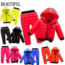Children Set Boys girls Clothing sets winter 2 8year hoody Down Jacket Trousers Waterproof Snow Warm