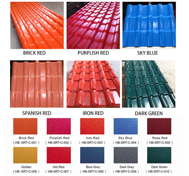 High Hardness 10 Years No Color Fading Roof Tiles In