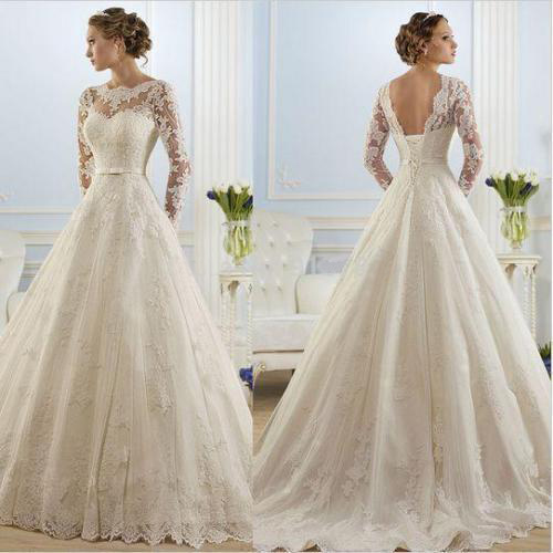 Simple Cheap Elegant Long Sleeves Wedding Dresses Lace: 2016 Elegant High Neck Puffy Simple Lace Long Sleeve