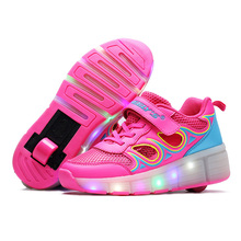 2016 Child Heelys wheelys Girls Boys LED Light Heely shoes Children Roller Skate kids Sneakers With