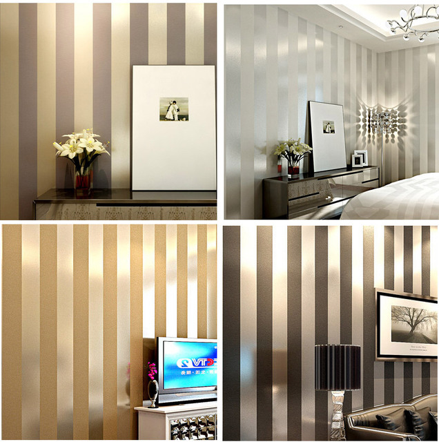 Decorating With Stripes For A Stylish Room: Non Woven Black White Silver Gold Glitter Striped