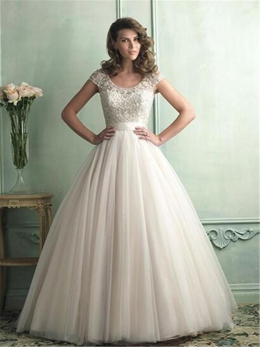 Compra vestido de novia de color beige online al por mayor