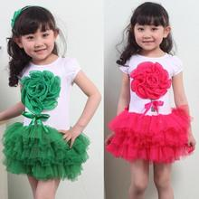 Kids Girls Stereoscopic Big Flower Tutu Dress Child Bowknot Clothes Layerd Dress 1 4Y