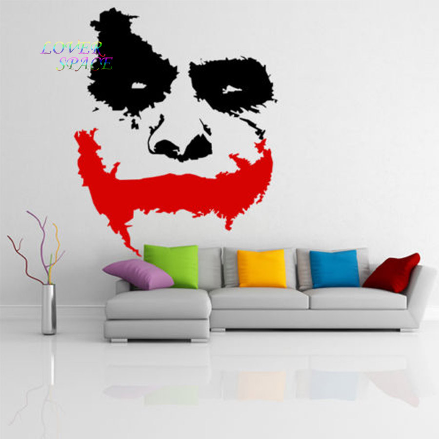 Vinyl dinding decal scary joker wajah film batman the dark ksatria stiker mural dinding sicker home decor besar wall art dekoratif