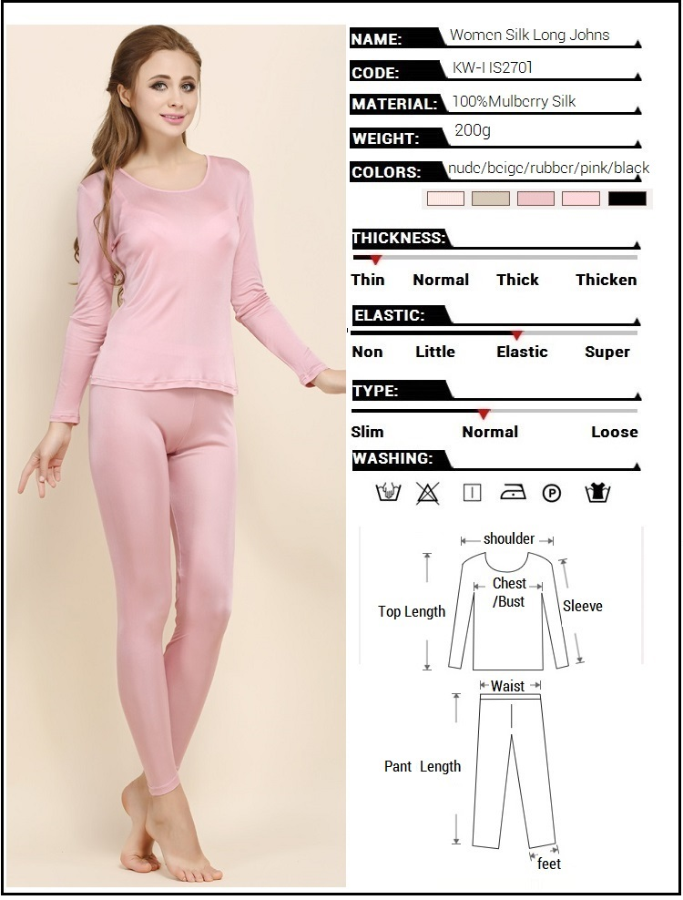 eb6e5d320a 2019 Wholesale 100% Real Silk Women S Long Johns Set Ladies Warm ...