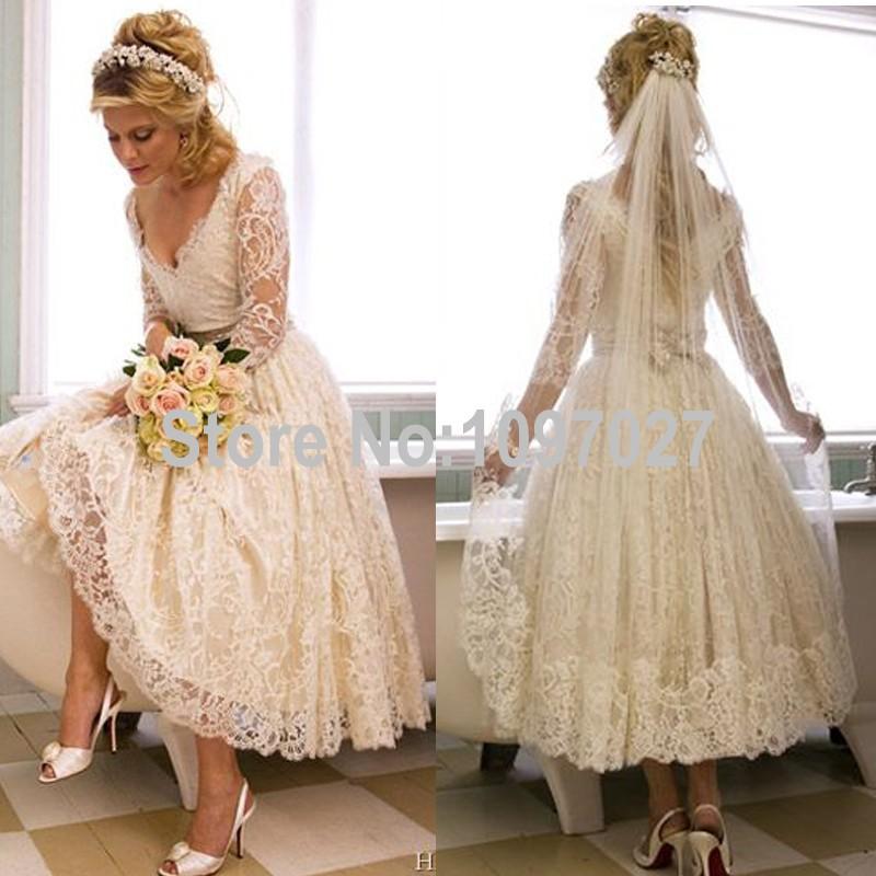 Vintage Three Quarter Length Wedding Dresses: Vintage Lace Tea Length Wedding Dress 2015 Elegant Three