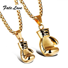 Sporty Stainless Steel Mini Boxing Glove Necklace Boxing Jewelry Gold / Silver / Black Cool Pendant For Men Boys Gift FL1018