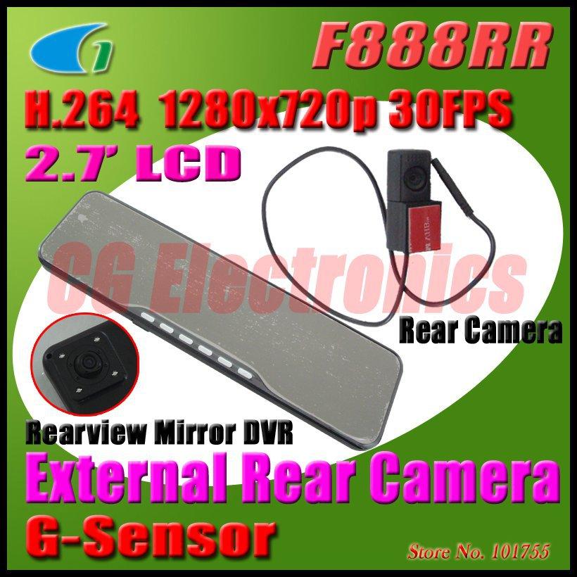 H.264 720 P отдельный с двумя объективами авто зеркало заднего вида DVR w / G - датчик / 2.7