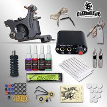 Kits completos de Tatuagem 8 bobinas wrap máquina de armas de 1/6 oz preto conjuntos de tinta de tatuagem fonte de alimentação de agulha descartável frete grátis