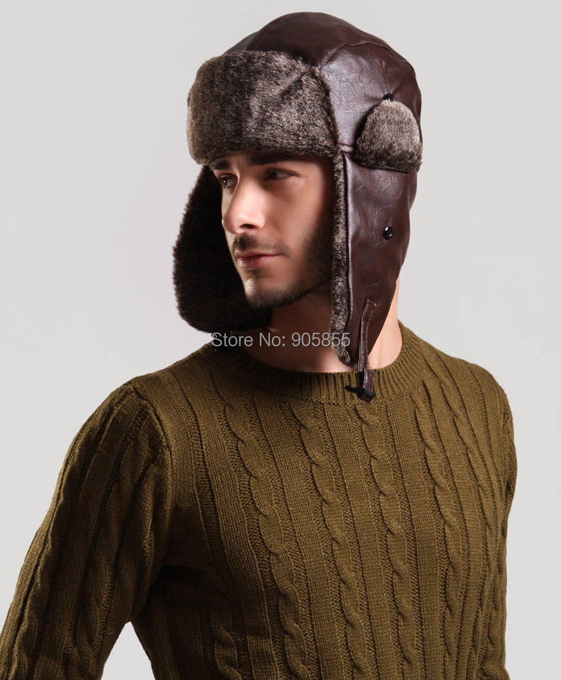 897df2aa1c9 Windproof Trapper Hat Hunting PU Leather Fur cap Russian Winter Hat Bomber  Caps for Men ...