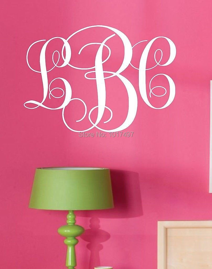 monogram initials vinyl wall decal lettering art words. Black Bedroom Furniture Sets. Home Design Ideas