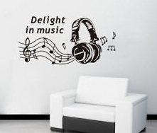 New design Vinyl Wall Stickers Music Room Earphone Home decoration Wall decals for Kids Nursery Living Rooms Free Shipping