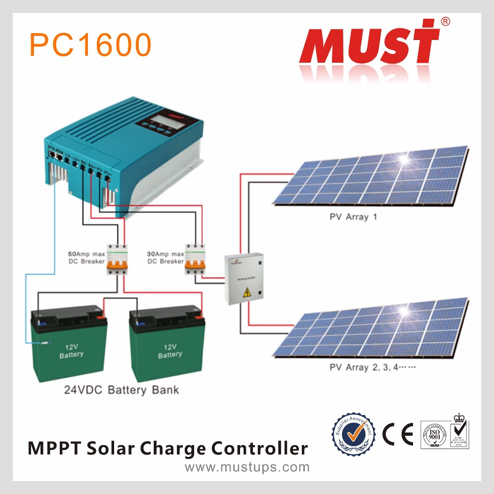 Must Pc1600 Series 12v 24v 20a 30a 40a Mppt 200amp Solar