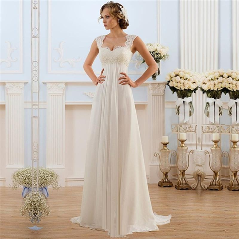 Custom Lace Pleated Empire Bohemian Beach Wedding Dress ad65dc5f1c41