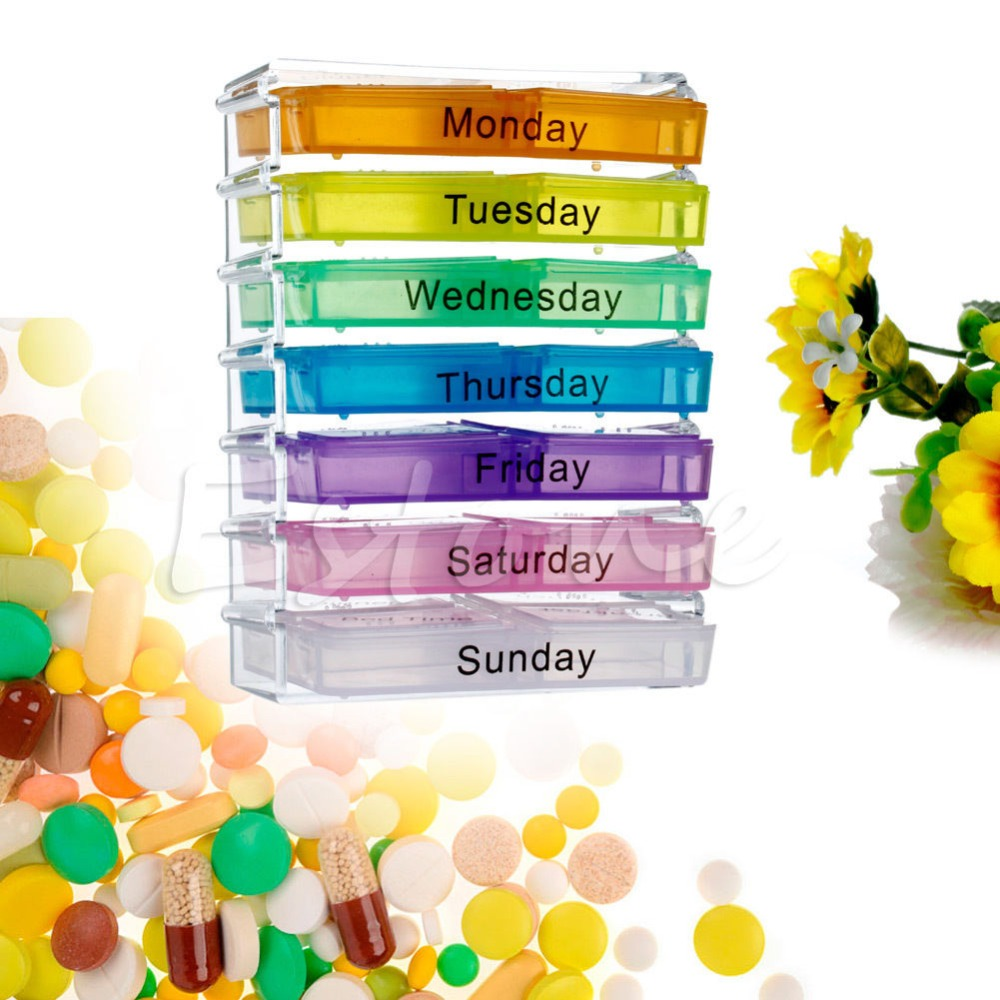 っ7 Day Tablet Pill Weekly ⑧ Boxes Boxes Holder Medicine