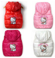 2015 children winter Outerwear Coats Hello Kitty Girls vest hooded vest Kids windbreaker Jacket 100 cotton