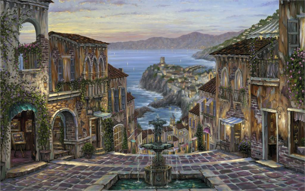 Living room <font><b>home</b></font> wall <font><b>decoration</b></font> fabric poster Paintings Summer in Vernazza Italy <font><b>Italian</b></font> Riviera sea coast fountain