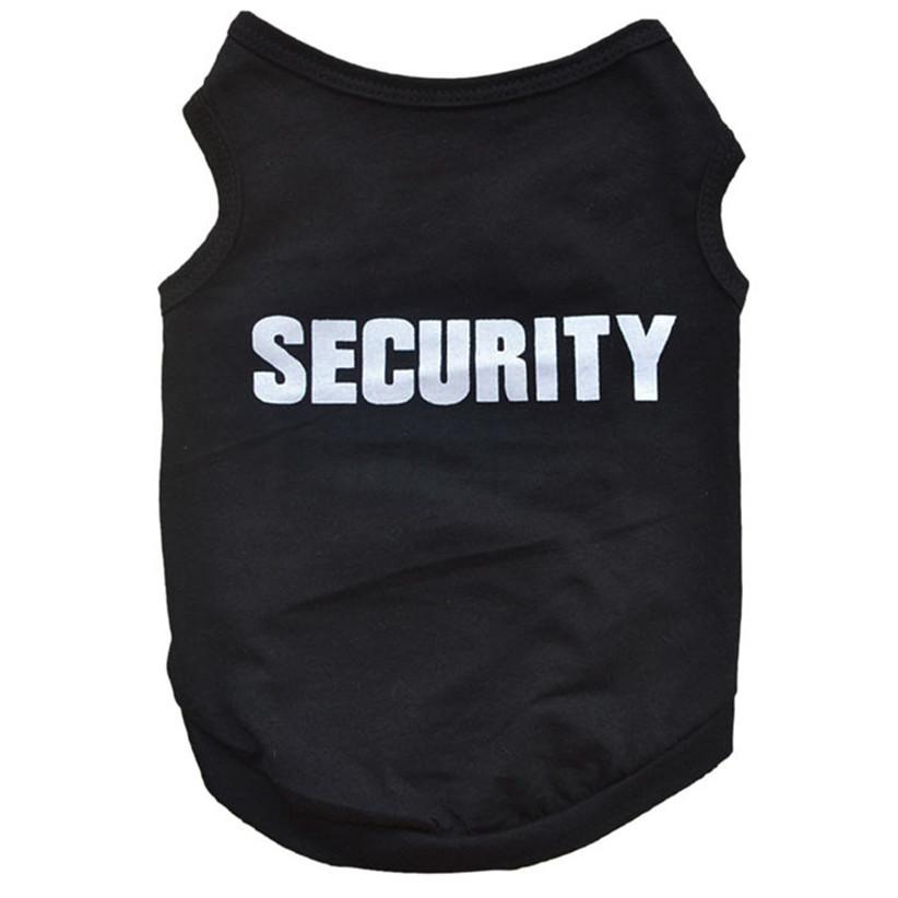 Недавно дизайн безопасности черный собака жилет летом домашние животные собаки хлопка одежды футболки одежда July17