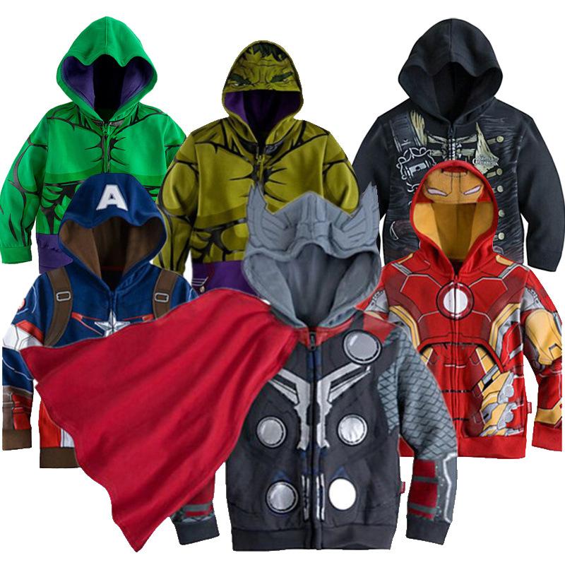 3 10yrs Boy s Sweatshirt Captain America Avengers Iron Man The Hulk Children Hoodies Coat Kids