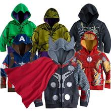 3-10yrs Boy's Sweatshirt Captain America Avengers Iron Man The Hulk Children Hoodies Coat Kids Long Sleeve Outwear Boys Girls