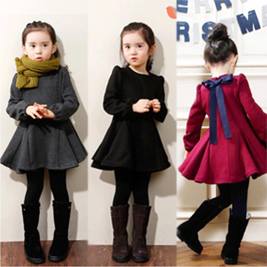 Girl Dress Autumn Winter Children Clothing Ruffles Long-Sleeved Kid Girl Dresses Thick Velvet Cotton Baby Girl Clothes 2-7 Years