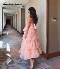 Lakshmigown Многослойные тюлевые Свадебные платья 2019 Белый Розовый Черный чай длина элегантное женское вечернее платье vestido(China)