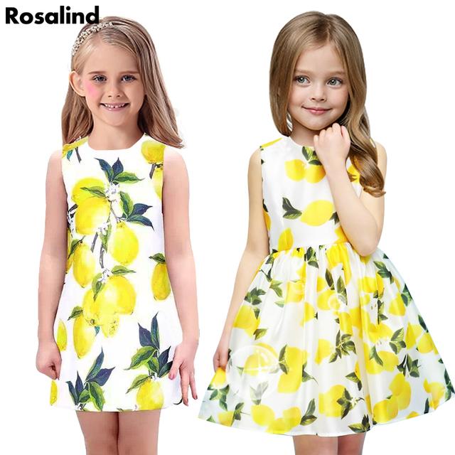 303ee9d2a87 Новое прибытие девочка платье лимон шаблон платье принцессы летние девушки  одежду .
