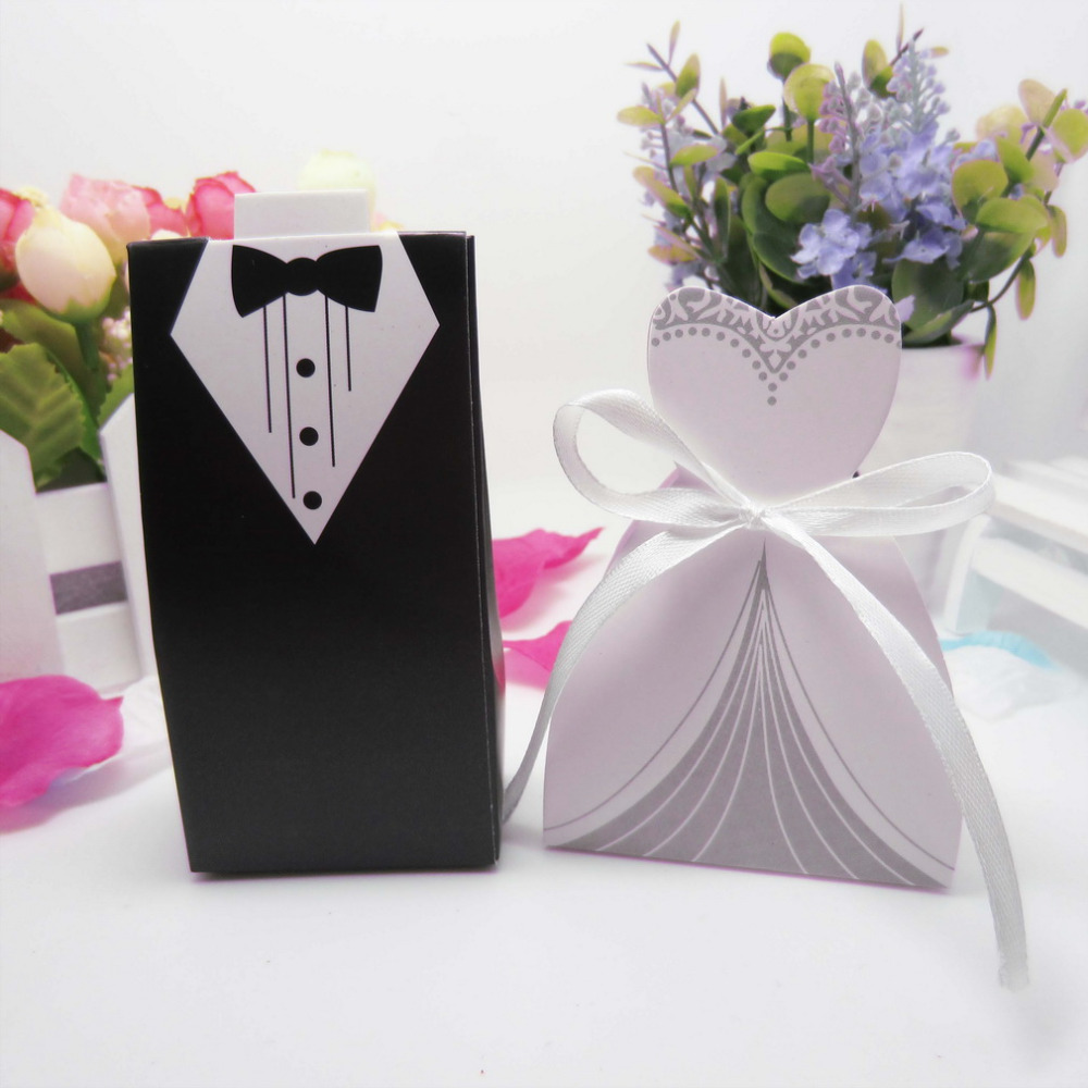 Wedding Party Favor Ideas: Wedding Decoration 50pcs Bride Groom Candy Boxes Wedding