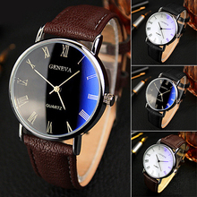 Hot Selling Good DealMen Roman Numerals Blu-Ray Faux Leather Band Quartz Analog Business Watch