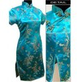 Free Shipping Blue New Chinese traditional Women s silk Mini Qipao Cheong sam Evening Dress S