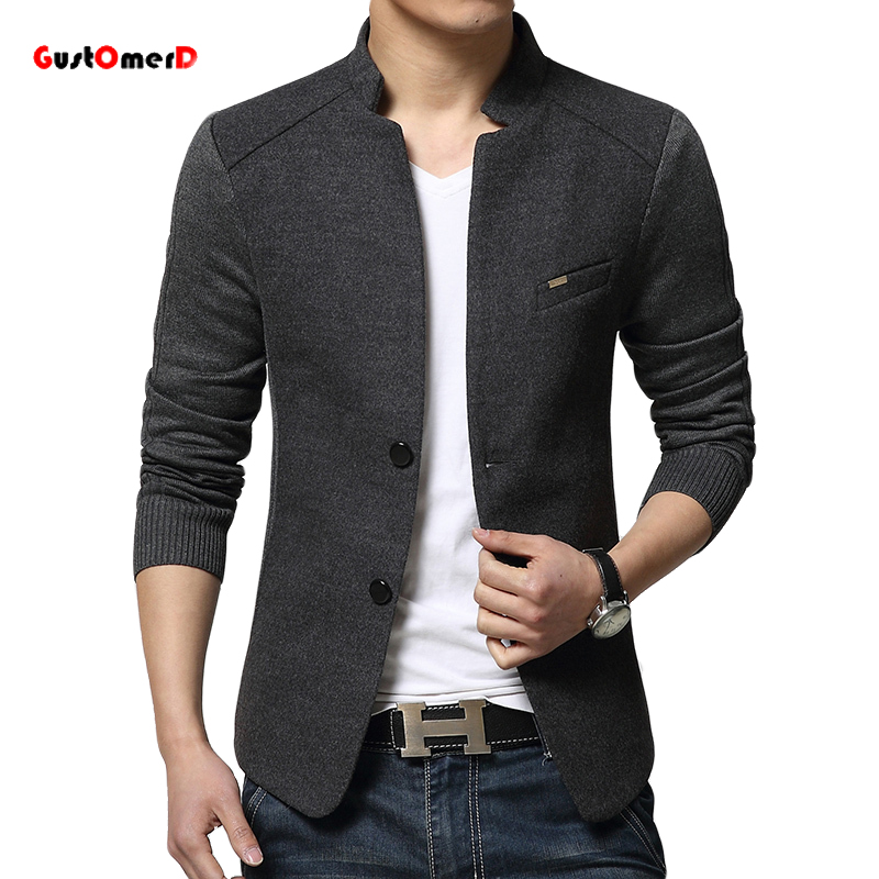 2015 New Mens Blazer Patchwork Suits For Men Top Quality Red Blazers Slim Fit Woolen Outwear