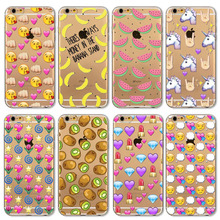High Quality Phone Case For iphone 4 4s 5 5s 6 6s 6plus 6splus Fruit Painted Pattern Fashion Silicone Soft Transparent Back Case