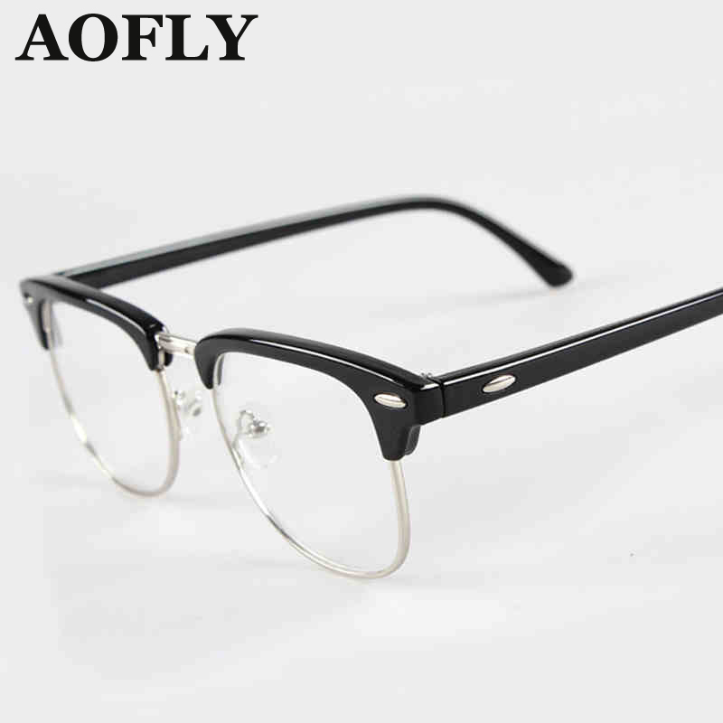 c161f31c386b2 New Retro Clubmaster Wayfarer Clear Lens Nerd Frames Glasses Fashion brand  design Mens Womens Vintage Half Metal OculosS1550