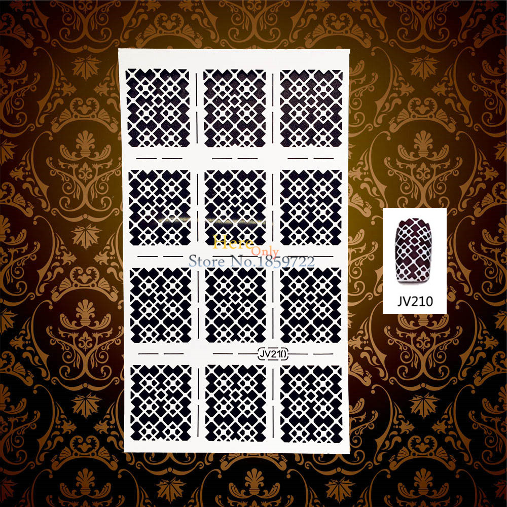 1PC New 3D Grid Mesh Pattern Hollow Slim Nail Art Template Guide Decal HWJ210 Manicure Sticker